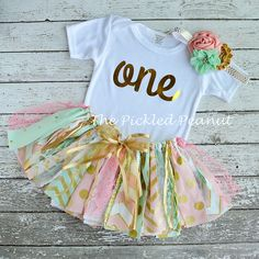 Hey, I found this really awesome Etsy listing at https://www.etsy.com/listing/230250257/pink-mint-gold-birthday-outfit-birthday