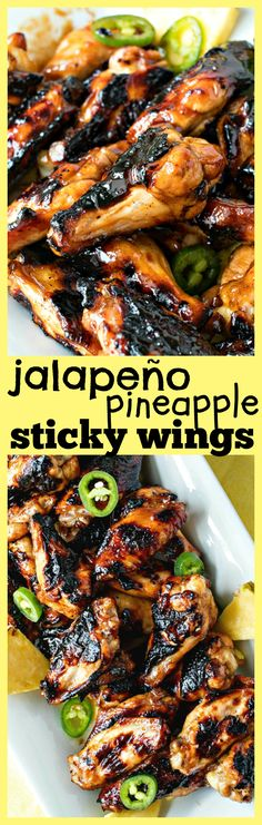 Jalapeño Pineapple Sticky Wings – The best recipe for sticky, sweet, and spicy wings! These wings are grilled and tossed in a jalapeño pineapple sticky sauce for the ultimate summer appetizer for your barbecues and parties.