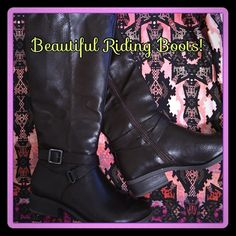 Riding Boots This is a dark brown pair of riding boots that look great with jeans, a skirt, or a dress!  They were worn once, but are not quite my size.  These never go out of style! Shoes