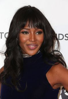 Naomi Campbell: Naomi Campbell has a beauty look that works and she's sticking to it. At Elton John's Oscars party, the model set off her blunt bangs with a warm-hued smoky eye.