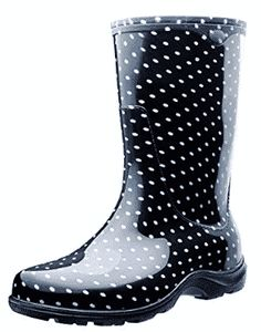 Sloggers Rain and Garden Boots with All-Day-Comfort Insoles, Size Black/White Polka Dot Print * Hurry! Check out this great item : Outdoor Shoes Tall Boots, Black Boots, Shoe Boots, Polka Dot Rain Boots, Garden Boots, Rain Garden, Boots 2016, Amazing Women, Rubber Rain Boots
