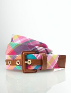 Talbots - Pink Madras Plaid Leather Buckle Belt | Mix it With Madras |
