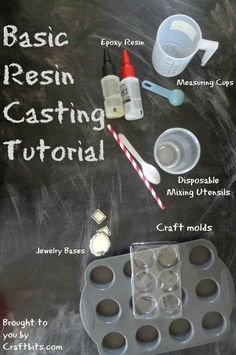 Basic Resin Casting - Tutorial: colate in resina In this tutorial, you will learn about basic resin casting - the types of resins, how to measure them and how yto work with them. You will also learn about different types of molds and how to mix th. Diy Resin Crafts, Jewelry Crafts, Diy And Crafts, Arts And Crafts, Stick Crafts, Recycled Crafts, Jewelry Ideas, How To Make Resin, How To Make Beads