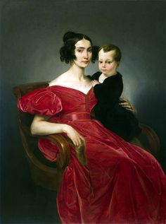 """Portrait of Countess Teresa Zumali Marsili and her son Joseph"" by Francesco Hayez, 1833 (late Empire, early Romanric) Victorian Fashion, Vintage Fashion, Parma, Mother And Child, Fashion History, Family Portraits, Art History, Lady In Red, Empire"