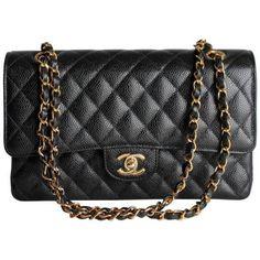 Chanel Caviar Medium Classic Double Flap Bag in Black and Gold Chanel Handbags, Black Handbags, Fashion Handbags, Fashion Bags, Cheap Handbags, Leather Handbags, Handbags Online, Fashion Purses, Ladies Handbags