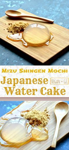Mizu Shingen Mochi Japanese Water Cake 3 ingredient Japanese dessert served with Kinako roasted soybean powder and Kurimitsu dark sugar syrup Its literally water that yo. Japanese Cake, Japanese Sweets, Japanese Deserts, Japanese Water Cake Recipe, Vegan Japanese Food, Delicious Desserts, Dessert Recipes, Yummy Food, Healthy Food
