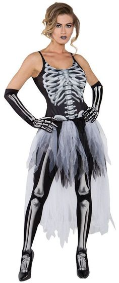 Perfect for a Halloween event when you want to be unique and scary but still be sexy! Printed black tank top with skeleton print, tutu skirt with train, printed bone gloves and printed bone stockings.
