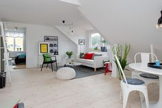 Charming White Attic Apartment in Sweden Inspiring Warmth Throughout