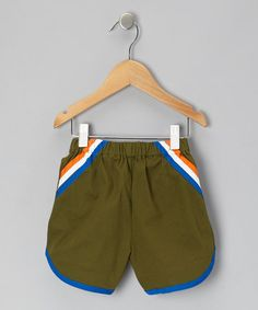 Olive Green Racer Shorts - Infant, Toddler & Boys by Baby Takes A Trip on #zulily today!