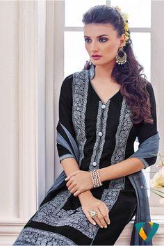 Shonaya Black Colour Chanderi Cotton Embroidery Unstitched Dress Material