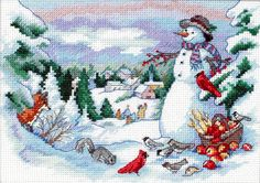 Love a winter scene and this snowman! Santa Cross Stitch, Cross Stitch Love, Beaded Cross Stitch, Crochet Cross, Cross Stitch Charts, Cross Stitch Designs, Cross Stitch Embroidery, Embroidery Patterns, Cross Stitch Patterns
