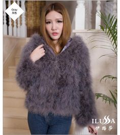 High-end custom Ostrich hair short fur coat even cap authentic female long sleeve with cotton wool coat pocket