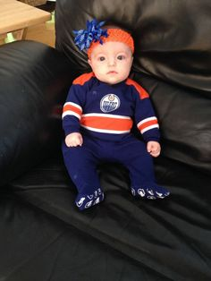 Three-months-old today & going to celebrate at the #Oilers game!! - Sheena Larson