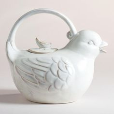One of my favorite discoveries at WorldMarket.com: Bird Teapot  This would be totally adorable, but it doesn't say how much it holds, or any dimensions for that matter. :(