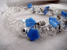 Blue Hibiscus Necklace  Silver Wire Crochet by OceanPearlJewellery, $50.00
