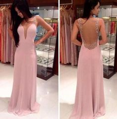 pink Prom Dress, dark v-neck prom dress evening gowns with beadeds