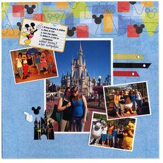 Disney World scrapbook page layout.