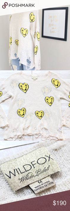 Wildfox Heart Face Lennon sweater⭐️ Ok can we talk😍, wildfox smiley Heart face Lennon sweater, size medium, in like new conditions, looks brand new, no flaws, excellent  conditions, everyone's favorite jumper(personally mine is the stargazer kittens Kim sweater) but this one is definitely a close second, what a gem⭐️ Wildfox Sweaters Crew & Scoop Necks