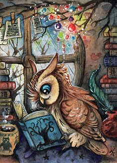read makes wise ACEO by kiriOkami Animal Spirit Guides, Spirit Animal, Owl Art, Bird Art, Owl Wallpaper Iphone, Owl Graphic, Nocturnal Birds, Owl Pictures, Artwork Images