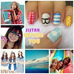 Korean Pop (K-Pop) girl group SISTAR. Themed nails from their hit song Loving U!!! And I'm Loving Them!!