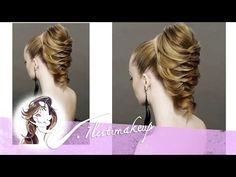 Hairstyle for medium long hair. Прическа с плетением на средние и длинные волосы. - YouTube