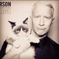 Anderson Cooper and Grumpy Cat <3 Can't handle how awesome this picture is.