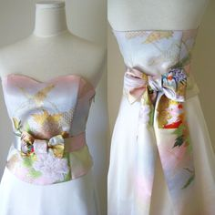 Wedding Dress with vintage wedding KIMONO gold by Shantique, $720.00