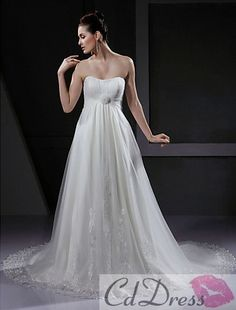 Charming A-line Strapless Sweep Train Lace Tulle Beach Wedding Dress