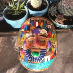 This fun, bright story mask from Guerrero, Mexico will enliven any room or patio. Perhaps might even inspire a tale or two!