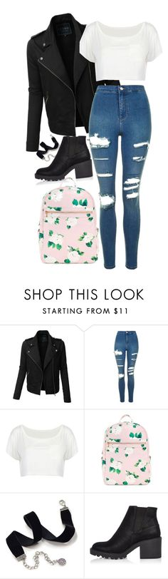"""""""School girl"""" by thefashionguilty ❤ liked on Polyvore featuring LE3NO, Topshop, Sweet Romance and River Island"""