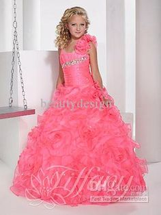2014 Watermelon Red Spaghetti Flowers Straps Backless Sleeveless Girl's Pageant Dresses Sequins Beaded Sweep Train Ball Gowns 13343 from Beautydesign,$76.47 | DHgate.com