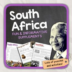 Lets get to know South Africa! This worksheet includes 16 pages with a great variety of activities and exercises about South Africa. The materials have informative exercises about the things that South Africa is famous for, such as Nelson Mandela, Apartheid, the Zulu People, the Kruger Park, Townships, and many other things!