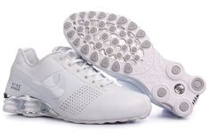 Nike Shox in White. These shoes are great for nursing school. The stabilizing shox offer impact absorbing wear to sustain long days on the floor. Plus, they add a little height to your look in case your scrub bottoms are a bit on the long side. They may be customized at the Nike store to get the all-white style shown. Priced at $155.00.