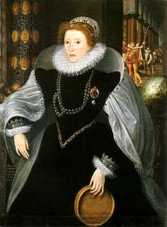 Elizabeth I, the Sieve portrait by Quentin Metsys, c. 1583.  An allegorical portrait:  Elizabeth portrays a Vestal Virgin who carried water in a sieve from the Tiber to the temple of Vesta.  Her pearls are a symbol of virginity and the globe indicates her regal status.