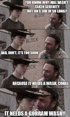 Hey Coral What's Glenn's Favorite Restaurant funny memes meme lol funny quotes humor the walking dead rick Walking Dead Funny, Walking Dad Jokes, Walking Dead Coral, Carl The Walking Dead, Twd Memes, Funny Memes, Hilarious, Nerd Funny, Funny Quotes