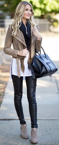 Suede Moto Jacket + Black And White Source