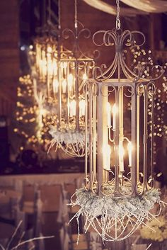 Winter Wonderland Wedding {Iron lanterns with flocked pine and crystal beading.} Floral + event styling by Junkerman Jones, Wedding & Event Design. Photography by Aus10.