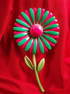 Enamel Flower Pink and Green Brooch