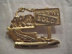 AJC Realtors Realtor Realty for Sale Sold Home House Gold Tone Pin | eBay