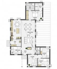Sandliden is a pent roof house with a symmetrical floor plan. - Sandliden is a pent roof house with a symmetrical floor plan. Dream House Plans, Small House Plans, House Floor Plans, Delta House, House Construction Plan, House Roof, Home Design Floor Plans, House Layouts, Arquitetura