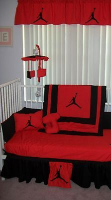 Jordan Baby Bedding in black and red oh my i would love this if i had a boy!!