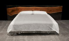 ACRYLIC HEADBOARD (H) WITH BLACK WALNUT MICROSLAB AND ACRYLIC PLATFORM (P)