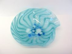 Blue Art Glass Plate Ruffled Edge Dish Hand Blown by MicheleACaron