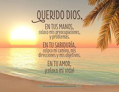 Querido Dios, en tus manos coloco mis preocupaciones y problemas