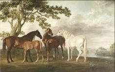 Mares and Foals in a River Landscape by George Stubbs - Hand Painted Reproduction