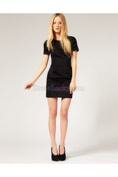 Black Sheath/Column Jewel Short Sleeve Short/Mini Satin Homecoming Dresses HD25A6