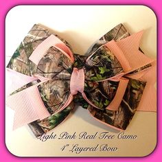Real Tree Camo Bow  Light Pink Baby Toddler by TippieToesBowtique, $10.50