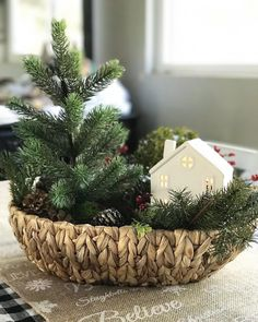 "179 curtidas, 55 comentários - Sarah (@littlehouseineucalyptushills) no Instagram: ""Here's my quick and simple centerpiece for the dining room, just using a tree and ceramic house ($3…"""