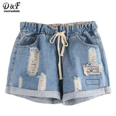 Dotfashion Women Fashion Shorts Summer 2016 Latest Ripped Drawstring Waist Rolled Hem Blue Twin Pockets Denim Shorts