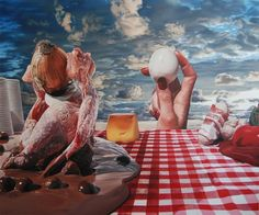 Surrealist Camping Lunch is a series of paintings by artist Till Rabus. Heavily-influenced by the surrealist works of Salvador Dali, Rabus c. Salvador Dali, Camping Lunches, Food Painting, Surrealism Painting, Fantastic Art, Amazing, Magazine Art, Contemporary Paintings, Landscape Paintings